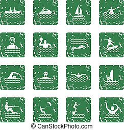 Water sport icons set grunge - Water sport icons set in...