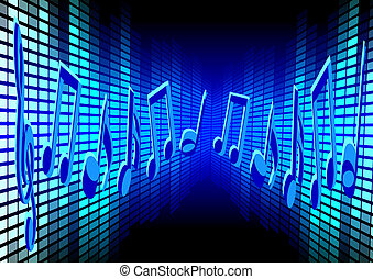 Blue Music Background - Music Background - Blue Notes and...