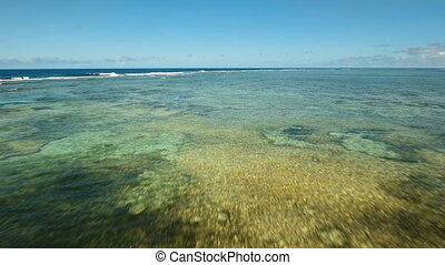 Water surface aerial view.Siargao island Philippines. -...