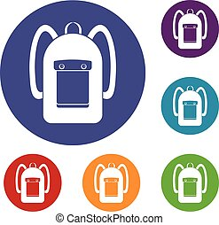 Backpack icons set in flat circle red, blue and green color...