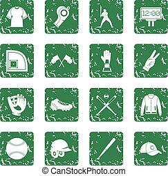 Baseball icons set grunge - Baseball icons set in grunge...