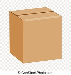 Brown sealed square box mockup, realistic style - Brown...