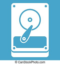 HDD icon white isolated on blue background vector...