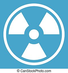 Danger nuclear icon white - Danger nuclear in simple style...