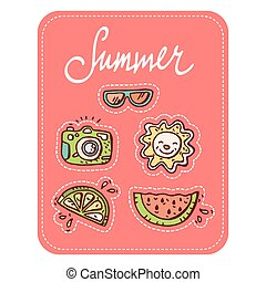 Summer doodle set. 5 hand-drawn objects, patch style design....