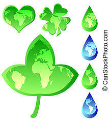 Set of Ecological Icons - Heart shape, dew, leaf,...