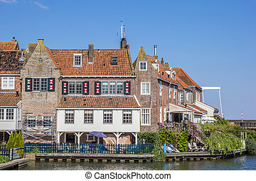 Old houses at the quay in Enkhuizen, The Netherlands