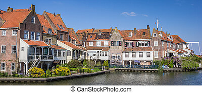 Panorama of houses around the harbor in Enkhuizen, Holland