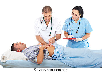 Doctor examine patient in hospital bed - Doctor palpate...