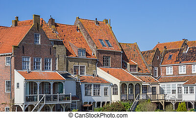 Small houses in the historic center of Enkhuizen,...