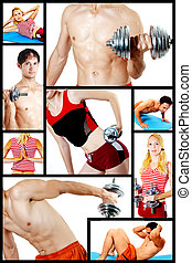 Collage. Fitness centre - Concept. Men and women are engaged...