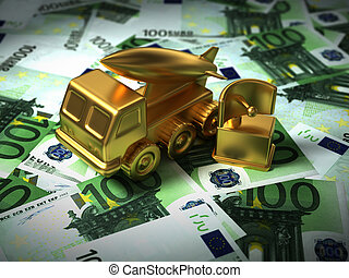 Gold Missile System And Radar On The Euro Money. 3D...