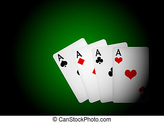 Playing Cards on Table - Four Aces