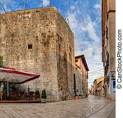 Pentagonal tower, Porec - Pentagonal tower and Decumanus...