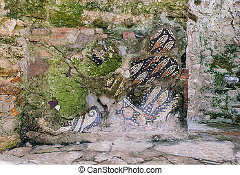 Mosaic fragment, Porec - View of mosaic fragments in the...