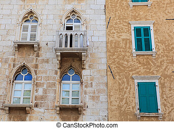 Old windows, Porec - Old venetian windows in Porec, Istria....
