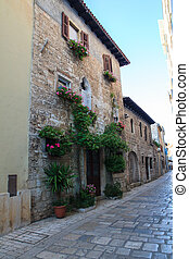 Porec, old town - Building in the old town, Porec, Istria....