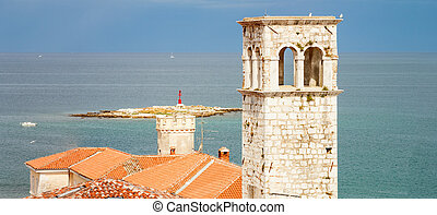 Old tower, Porec - View from the town tower in Porec,...