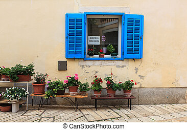 Blue window in Porec - View of blue window and flower pots...