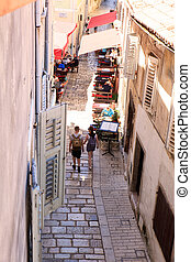 Porec, old town - POREC, CROATIA - JULY, 14: View of the old...