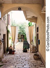 Courtyard in Porec - Courtyard in the Porec old town,...