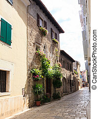 Porec, old town - View of old house in Porec, Istria....