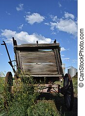 Back of n old rickety wood wagon - The back of an old...
