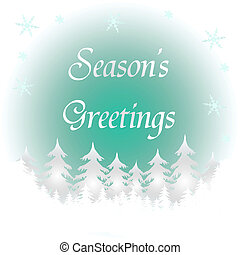 frozen season\'s greetings - frozen winter scene trees and...