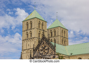 Towers of the St. Paulus Dom in Munster, Germany