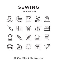 Set line icons of sewing isolated on white. Vector...