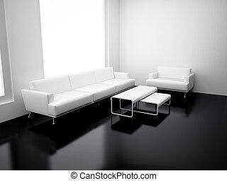 Modern apartment with living room. High resolution image. 3d...