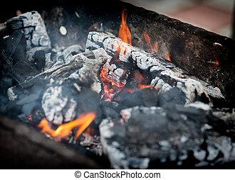 Flaming Charcoal. Close up.