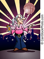 grandma dancing party - illustration of a grandma dancing...