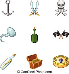 Pirate icons set, cartoon style