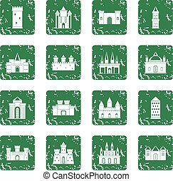 Towers and castles icons set grunge - Towers and castles...