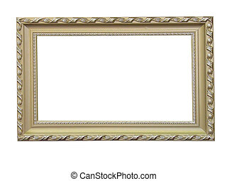 Old antique wood frame with pattern isolated over white