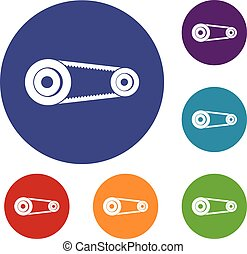 Mechanic belt icons set in flat circle red, blue and green...