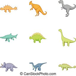 Different kinds of dinosaurs icons set