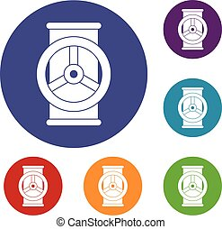 Valve icons set in flat circle red, blue and green color for...