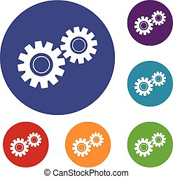 Two gears icons set