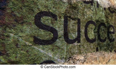 Success text on grunge background