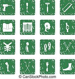Orthopedics prosthetics icons set grunge - Orthopedics...