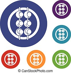 Asian shashlik icons set in flat circle red, blue and green...
