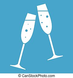 Two glasses of champagne icon white - Two glasses of...