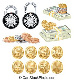 Finance Secure Concept Vector. Gold Metal Coins, Money...
