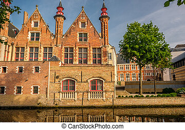 Bruges (Brugge) cityscape with water canal, Flanders,...