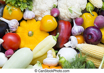 Fresh vegetables tomatoes cucumber squash and greens...