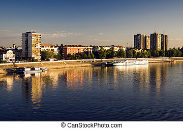 Novi Sad city on Danube river - Reflection of Novi Sad city...