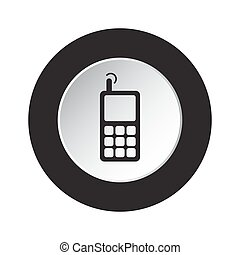 round black, white button - old mobile phone
