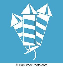 Firecrackers icon white isolated on blue background vector...